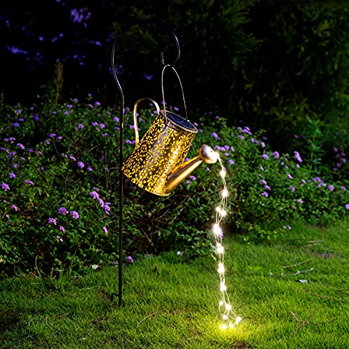 Solar Lights Outdoor Garden Decor, Large Hanging Lantern Waterproof Watering Can Landscape Lights Outside Decorations for Yard Clearance Front Porch Lawn Driveway Patio Backyard Pathway Gardening Gift