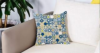 Pillow Case Cojín Cuadrado Print,Amarillo y Azul, Mosaico Portugués Azulejo Efecto Arabesque Mediterráneo, Violeta Azul MostazaAdecuado para Oficina, Familia, automóvil, cafetería, Tienda, 45x45cm