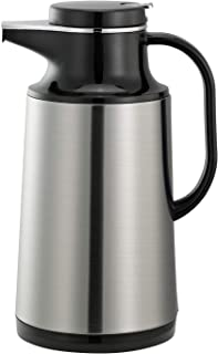Service Ideas HPS101 Glass-Lined Carafe, Vacuum Insulated, 1 Liter (33.8 oz.), Brushed Stainless/Black Accents