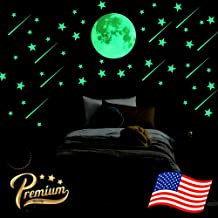 Big Bright Glowing Moon, 12 inch Full Moon + Bonus Set of Glow in The Dark Stars, Meteors || Premium Luminous Wall Sticker Decals for Kids Home Room Decorations