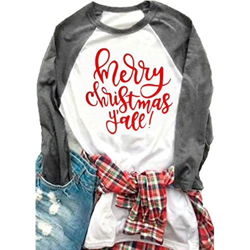 23e95d31b0d01 Women Plus Size Merry Christmas Y all O-Neck Baseball T-Shirt 3