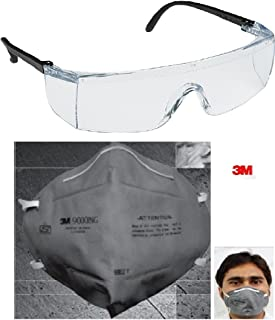 3M 28246 Accedre Combo of Full Eye Cover Bike Riding Goggles with Anti Pollution Face Mask (Multicolored)