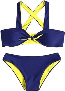 Women's Criss-Cross Top Front Knotted Padded Bandeau Bikini Set