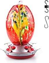 Muse Garden Hummingbird Feeder for Outdoors, Hand Blown Glass, 25 Ounces, Containing Ant Moat, Phoenix