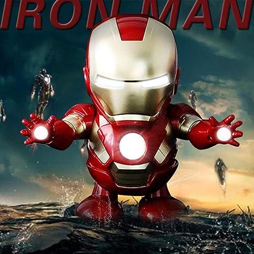 Iron Man Qui Peut Danser, Capitaine Américain Jouet électrique Robot Modèle Anime Décorations pour La Maison, Adapté Aux Enfants Garçons Et Filles -10  12  19cm A