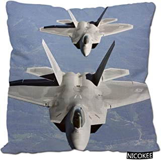 Nicokee Cotton Linen Pillow Covers U.S. Air Force F-22 Raptor in The Sky-U.S. Air Force Throw Pillow Covers Cases for Couc...