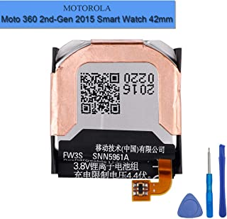 New Replacement FW3S Battery Compatible with Moto 360 2nd-Gen 2015 Smart Watch 42mm SNN5971A with Installation Tools