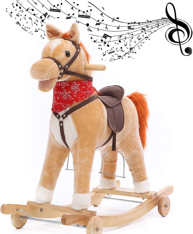 Guang Musik Rocking Horse mit Musikfunktion, Griff Griff, 40KG Kapazitt, Kinder & Kinder traditionelles Spielzeug,D