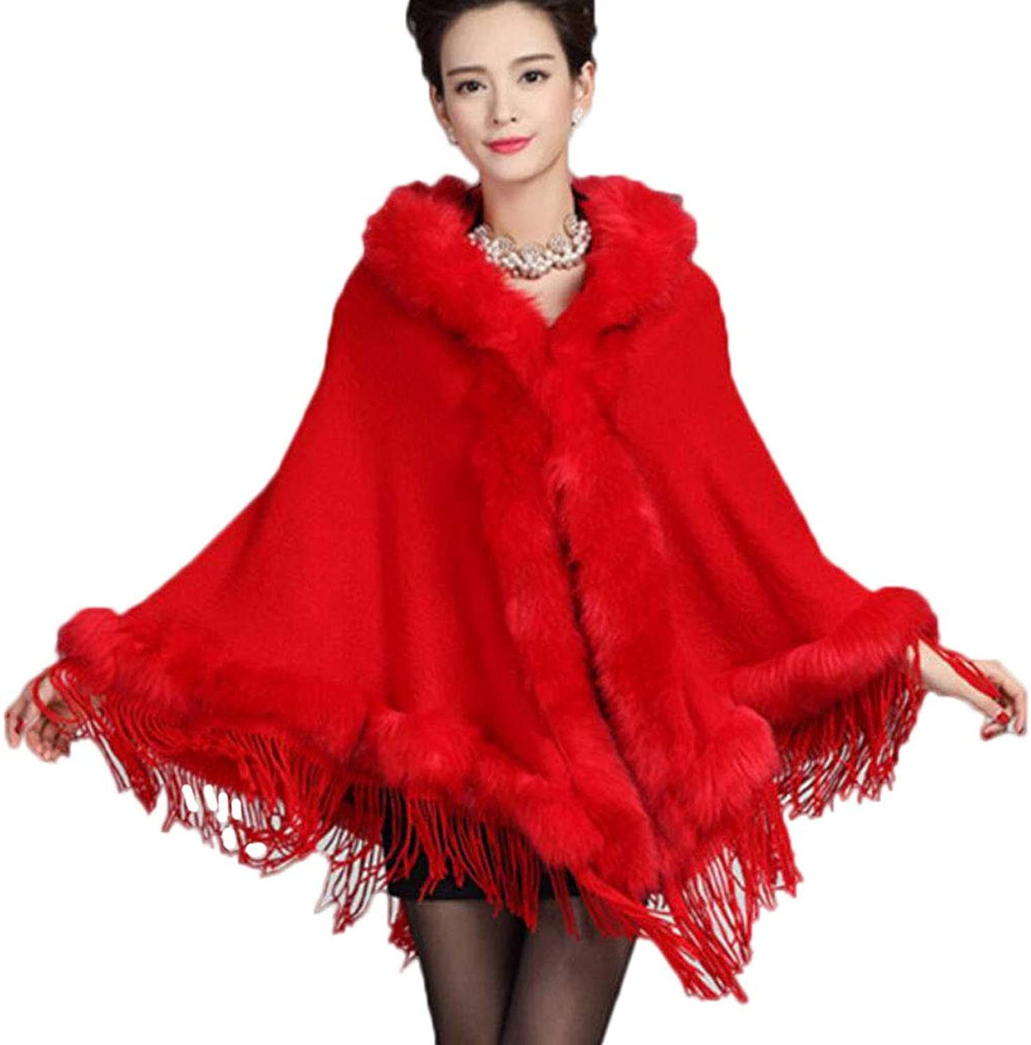Hooded Tassel Autumn and Winter Fashion Women's Clothing Shawl Coat Knit Cloak Cardigan (color   RED, Size   OneSize)