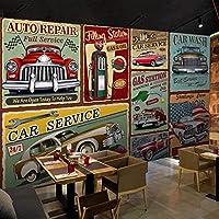写真の壁紙レトロなノスタルジックな手描きのヨーロピアンスタイルのクラシックカーの壁画バーレストランの背景の壁紙3D, 200cm×140cm