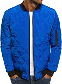 Howely Mens Warm Thickened Casual Loose Winter Solid Pea Coat Jacket with Zips