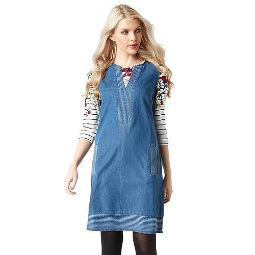 e5628fece32 Roman Originals Women Shift Denim Dress - Ladies V-Neck Sleeveless Knee  Length Daytime 100