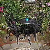 Lazy Susan - Ella 60 cm Bistrotisch mit 2 Stühlen - Rundes Gartenmöbel Set aus Metall, Antik Bronze (Rose Stühle)