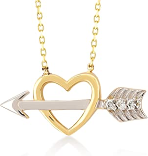 14k Yellow White Gold 0,01 ct Love Heart Arrow Chain Necklace for Women, 18
