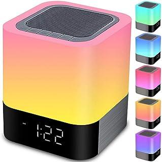 Bluetooth Speaker Night Lights, 5 in 1 Bedside Lamp with Bluetooth Speaker, 12/24H Digital Calendar Alarm Clock, Touch Con...