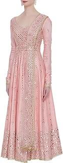 Baby Pink Indian Ethnic Designer Gotta Patti Work Mirror Work Handwork Silk Anarkali Salwar Kameez Flairy Bollywood Suit 8396 …