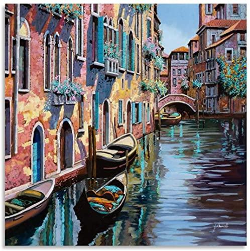 IOIP Quadri su Tela 50x50cm Senza Cornice Venezia Tutta Rosa Wall Art Picture Print Modern Family Bedroom Decor Posters