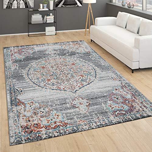 Paco Home In- und Outdoor-Teppich, Kurzflor Mit Orient Design In versch. Farben und Größen, Grösse:240x330 cm, Farbe:Grau