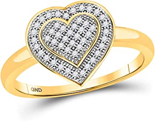 FB Jewels 10kt Yellow Gold Womens Round Diamond Heart Ring 1/6 Cttw Size 7