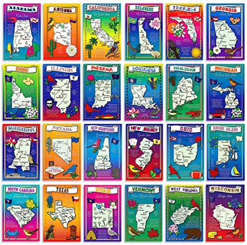 USA State Karte Postkarte Set. 50modernen Post Karte Vielzahl Pack, bebilderte Postkarten mit Karten von allen Fünfzig Staaten der Vereinigten Staaten von Amerika. Hergestellt in den USA.