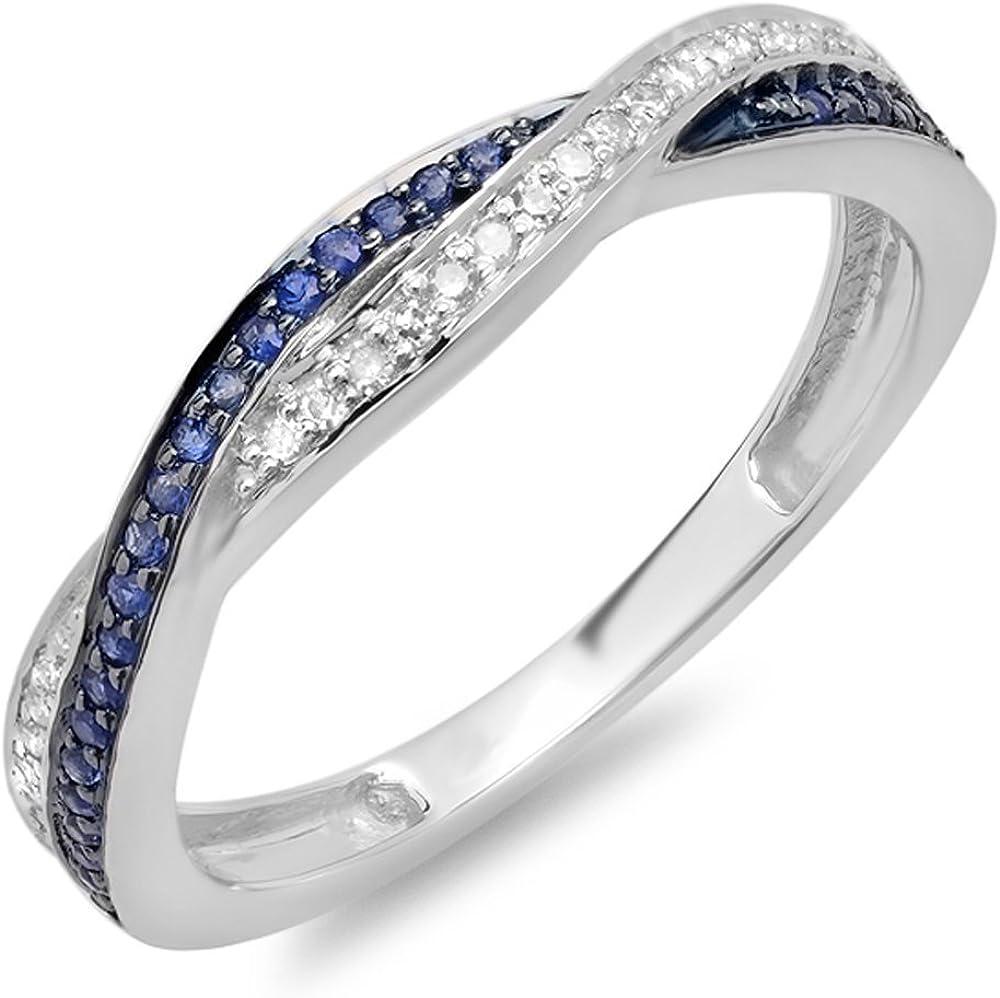 Dazzlingrock Collection 10K Gold Round Diamond & Blue Sapphire Ladies Stackable Anniversary Wedding Band Swirl Ring