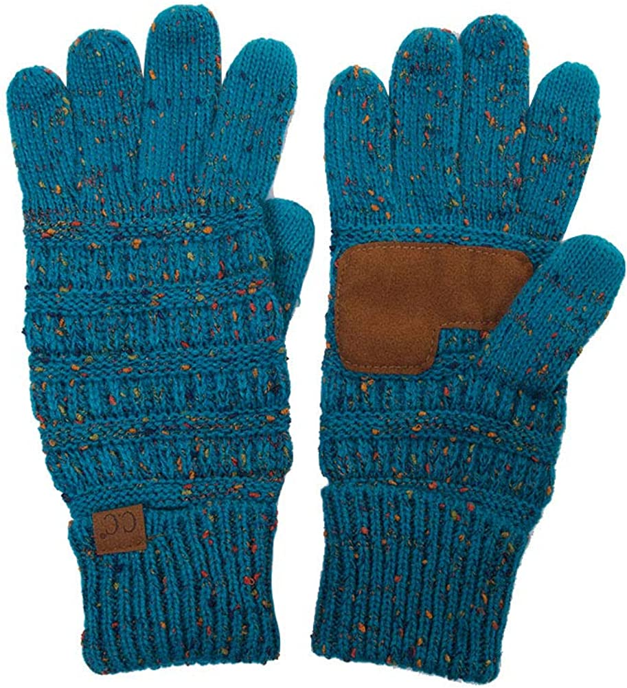 ScarvesMe Beanies Matching Cable Knit Warm Confetti Touch Screen Smart Tip Gloves