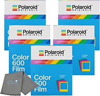 Polaroid Originals Color Instant Film for 600 and i-Type Cameras Color Frames 5 Pack Bundle with a Lumintrail Cleaning Cloth