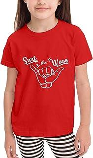 Paoseven Surfing Girl Hawaii - Camiseta de manga corta unisex para niña, color negro