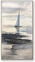 Handgeschilderd Olieverfschilderij - Abstract Modern Licht Kleur Zeilboten 100% Handgeschilderd Olieverfschilderij Op Canv...