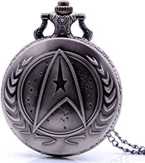 Vintage Movie Quartz Pocket Watch for Mens Womens with Necklace Chain&Fob Pocket Chain Christmas Birthday Gifts (Star Trek)