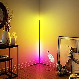 QJUZO Lampadaire Sur Pied LED Salon Design,Moderne Noir Lampadaire Chambre avec RGB et Télécommande,Luminosité Réglable La...