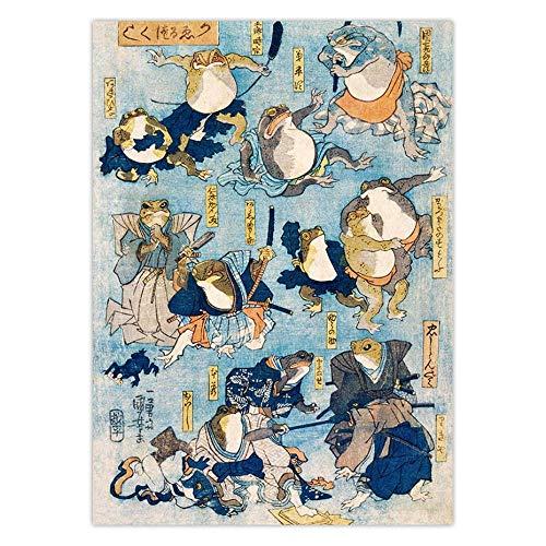 QianLei Vintage Frosch Kunst Leinwanddruck Berühmte Helden Kabuki Bühne gespielt von Fröschen Antike japanische Holzschnitt Wandkunst Leinwand Malerei 40x60cm kein Rahmen