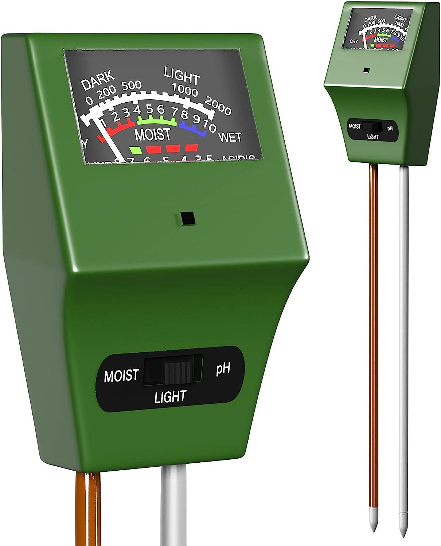 Soil Plant Moisture Meter, 3-1 Soil Moisture pH Light Meter, Water Sensor for House Indoor Outdoor Plants, Test Kit for Garden Soil-Tester for Plant Testing Tools -Plant Care- Moisture Sensor