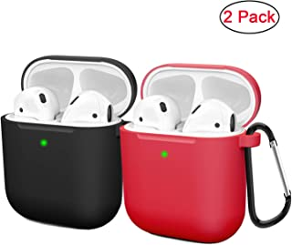 Compatible AirPods Case Cover Silicone Protective Skin for Apple Airpod Case 2&1 (2 Pack) Black/Red