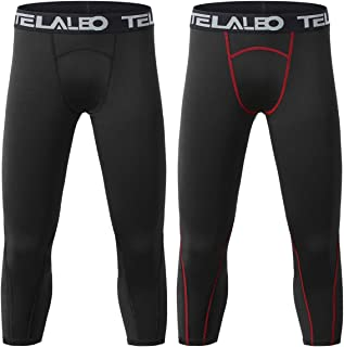 TELALEO Boys Youth Compression Base Layer Pants 3/4 Sports Tights Running Leggings Capris for Kids
