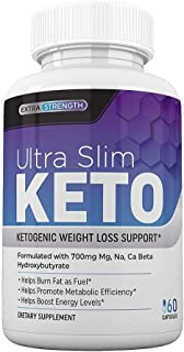 Ultra Slim Keto Diet Pills with MCT Oil, 7 Keto DHEA | Burn Fat Fast, Boost Energy and Kill Cravings | Advanced BHB Exogenous Ketones Supplement for Men, Women (60 Capsules)