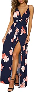Women's Sexy Deep V Neck Backless Floral Print Split Maxi Party Dress