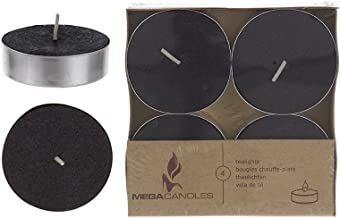 Mega Candles 12 pcs Unscented Black Oversize Tea Lights Candle, Pressed Wax Candles 12 Hour Burn Time, Home Décor, Wedding Receptions, Baby Showers, Birthdays, Celebrations, Party Favors & More