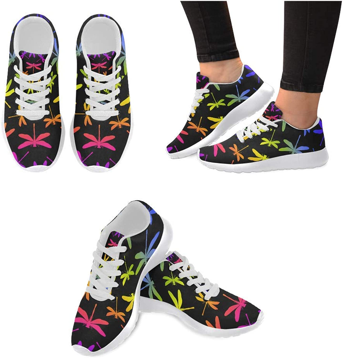 InterestPrint Women's Sneakers Dragonflies Jogging Work shoes Lightweight Sport Running Flats