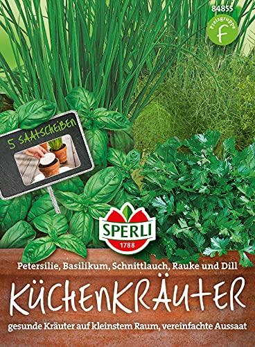 84855 Sperli Premium Küchenkräuter Set   5 Kräuter   Saatscheiben   Kräuter Samen Set   Küchenkräuter Fensterbank   Kräutersamen Set Balkon