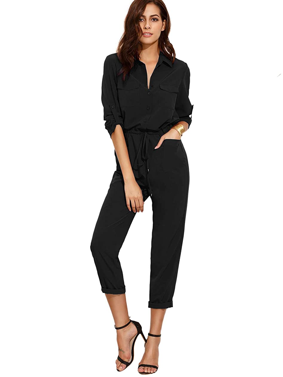 Verdusa Women's Casual Long Sleeve Drawstring Rompers Jumpsuits gulbjpafznv71440