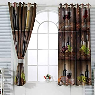 Gloria Johnson Winekitchen curtainWine Themed Collage on Wooden Backdrop with Grapes and Meat Rustic Country Drinkcurtain holdbackBrown Black Red72 x 63 inch