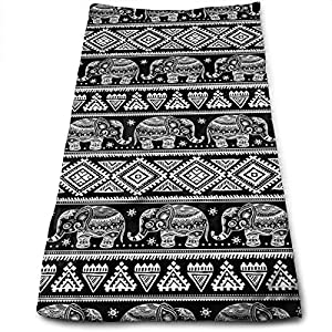 Black and White Ethnic Elephant. Hand Towels for Bathroom,Swimming,Yoga,Gym Soft Absorbent Microfiber Unisex 27.56 X 11.81 in Vintage Graphic Vector Indian Lotus Small Bath Towels