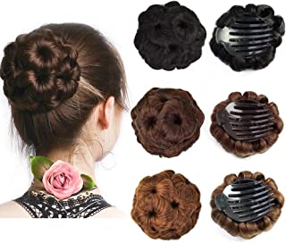 Beauty Angelbella Hair Buns Synthetic Natural Curly Chignon Hairpieces Updo Clip in/on Plastic Comb Elastic Bride Donut Wig For Women (Light Brown)