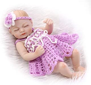 Reborn Baby Doll Girl, Soft Weighted Body, Cute Lifelike Handmade Silicone Sleeping Doll, Mini Realistic Simulation Baby