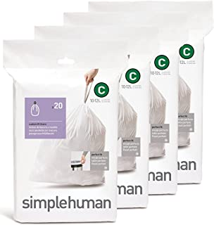 simplehuman Custom Fit Trash Can Liner C, 10 Liters / 2.6 Gallons, 20 Count (Pack of 4)