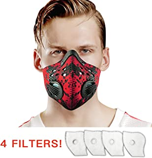 UTRIPSUNEW Safety Mask Washable and Reusable Cycling Mask With 4 Activated Carbon N99 Filters for Pollen Woodworking Mowing Running and Outdoor Activities Air Face Mask