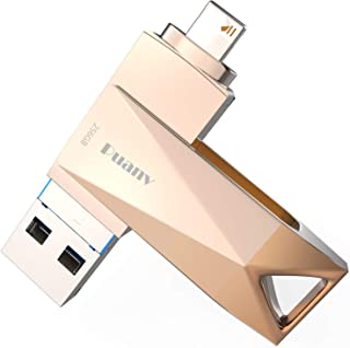 USB Flash Drive for iPhone 256GB Photo Stick for iPhone iOS Flash Drive 3.0 Drive PUANV OTG External Storage Thumb Drive Compatible with iPhone/iPad/Mac/Android and Computers (Rose Gold-256GB)