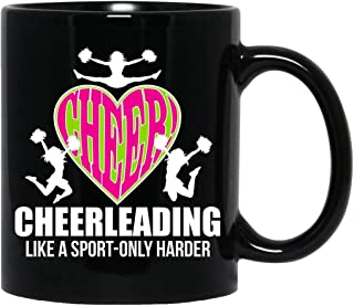 Cheerleader,Cheerleading,It's Like Sport Only Harder,Coach,Let's Go,Girls Gift Black Mug
