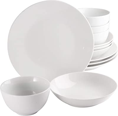 Gibson Home Back to Basics Coupe Dinnerware Sets, Round: Service for Four (12pcs), Classic Pearl